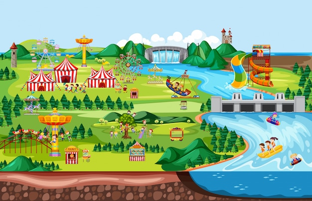 Тематический парк развлечений, пейзажная сцена и множество поездок со счастливыми детьми