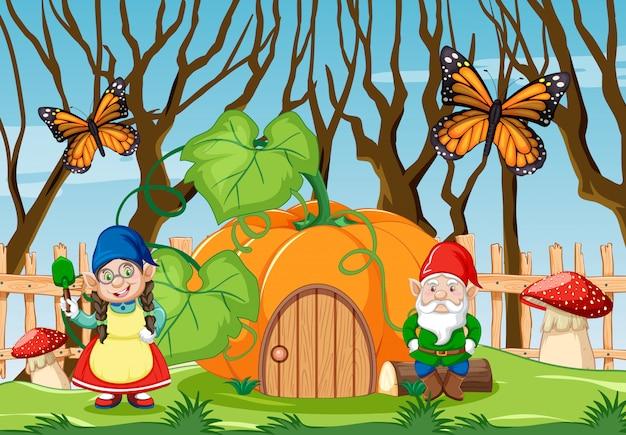 Гном с тыквой в саду с бабочкой в мультяшном стиле