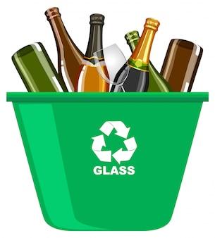 白い背景の上のリサイクルマークの付いた緑のごみ箱