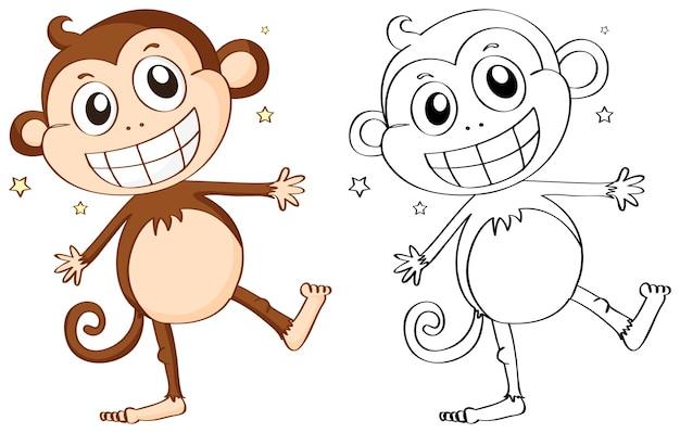 Контур животных для симпатичной обезьяны