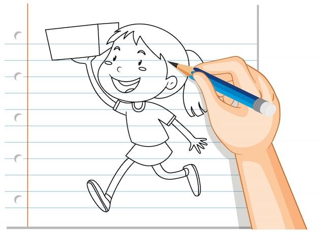ボックスの概要を保持している女の子の手書き