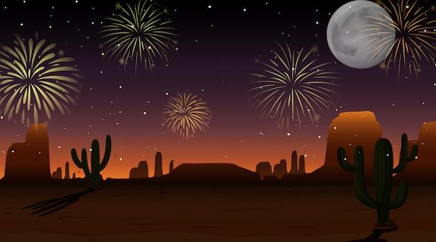 空の砂漠のシーンでお祝い花火