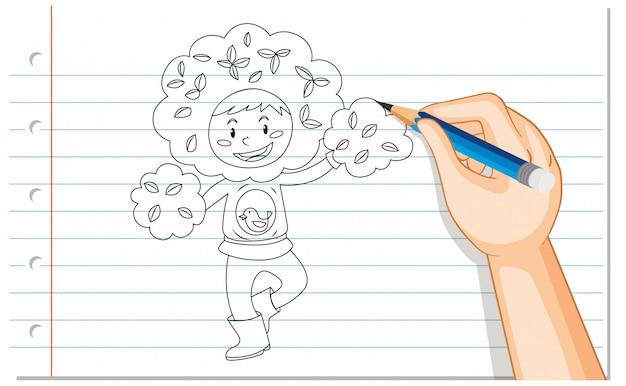手描きのツリーコスチュームアウトラインの少年