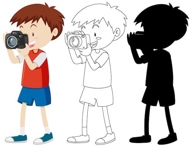 Мальчик снимает фото с камеры в цвете и наброски и силуэт