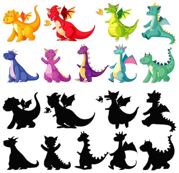 Различные цвета дракона в цвете и силуэт в мультяшный персонаж на белом фоне