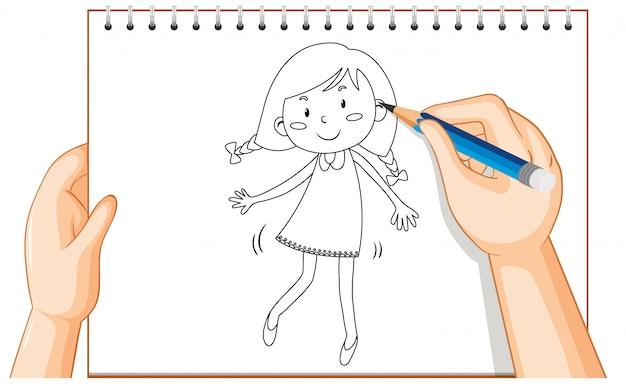 Чертеж руки милого мультфильма девушки