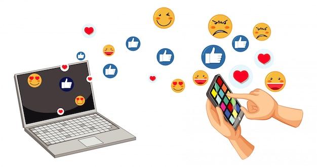 ソーシャルメディアの絵文字のセット
