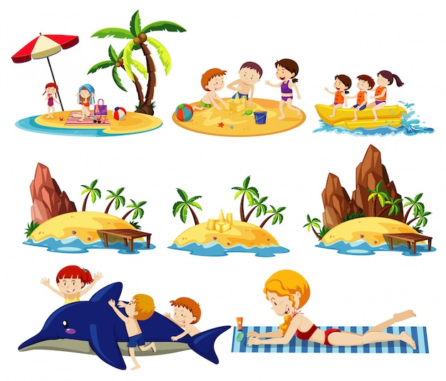 白い背景の上の夏のビーチの土地とアイコン漫画のスタイルのセット