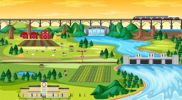 ファームフィールドの町とダム側の風景シーンの漫画のスタイルの学校と橋のスカイトレイン