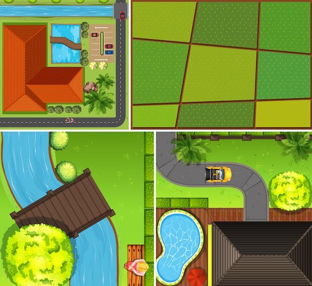 Набор воздушной фермы и речной сцены