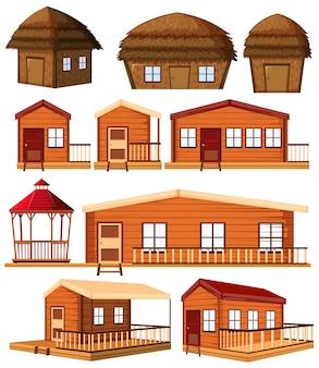 白い背景の上の漫画のスタイルで農場の建物の建設設計