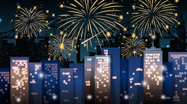 Городской пейзаж с праздником фейерверк сцены