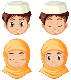 分離された伝統的な服でアラブのイスラム教徒の別の顔のセット