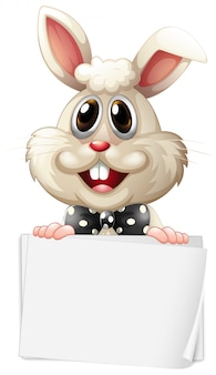 白い背景の上の幸せなウサギと空白記号テンプレート