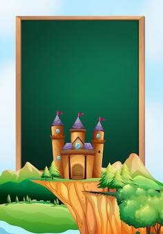 城の塔を背景にしたフレームデザイン