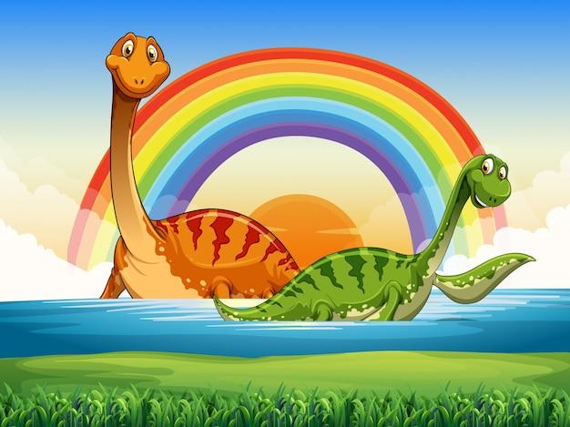 Два динозавра, плавающие в озере
