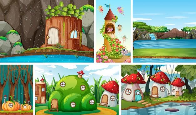 Шесть разных сцен фантастического мира с красивыми феями в сказке и замком с феями