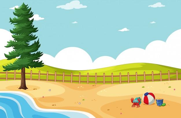 Тропический пляж и песчаный пляж и луг в мультяшном стиле