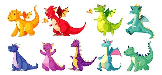 Различные цвета дракона в цвете в мультяшном стиле на белом фоне