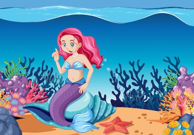 海の背景の下でかわいい人魚の漫画のキャラクターの漫画のスタイル