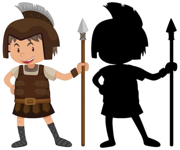Мальчик в костюме рыцаря со своим силуэтом