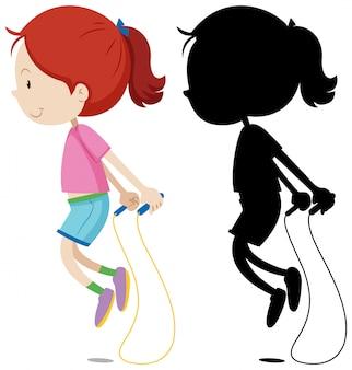 Девушка прыгает через скакалку со своим силуэтом