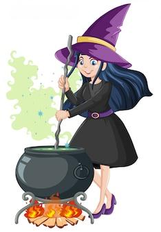 白い背景に分離された黒魔法鍋漫画のスタイルを持つ若い美しい魔女