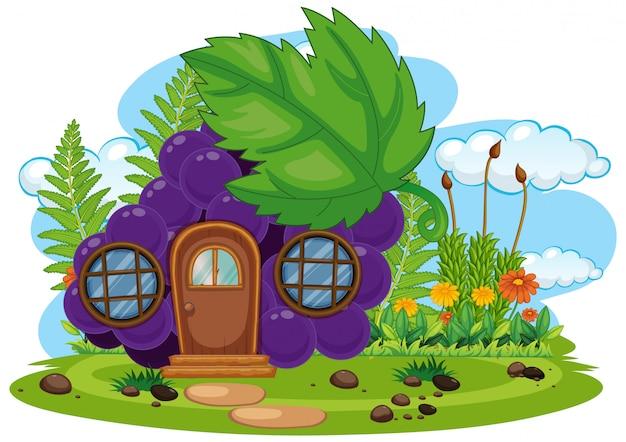 孤立したファンタジーのブドウの家