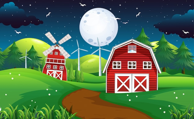 Ферма сцена с сараем и ветряная мельница ночью