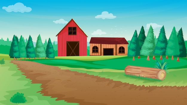 Ферма в природе сцена с сараем и фермерским домом