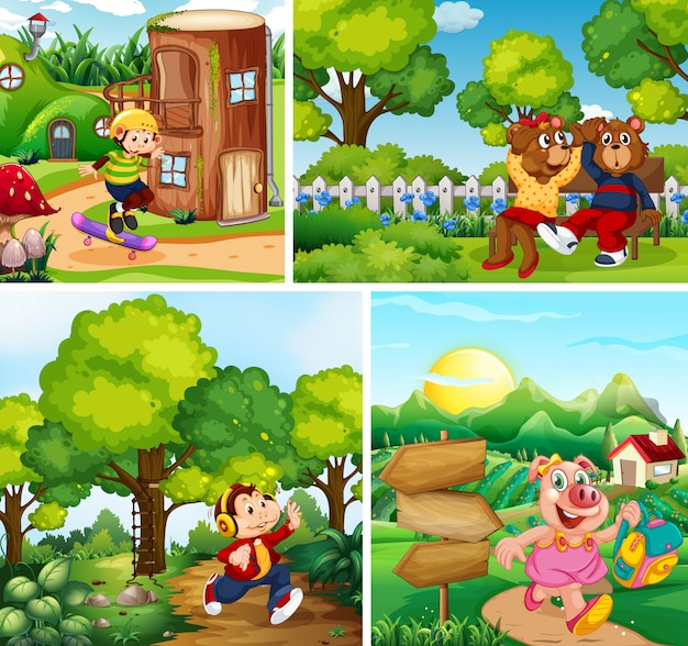 公園の背景に動物の子供たちのセット