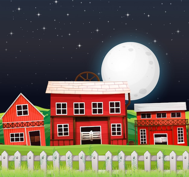Ферма сцена с сараем и фермерский дом ночью