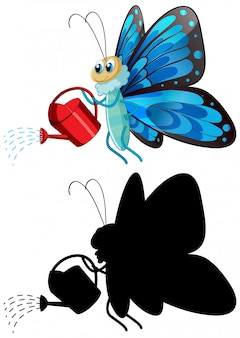 水まき缶を抱える蝶