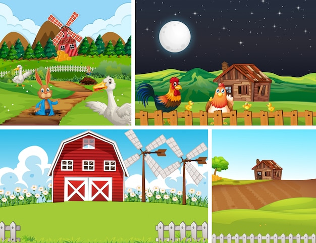 動物農場の漫画のスタイルと異なるファームシーンのセット