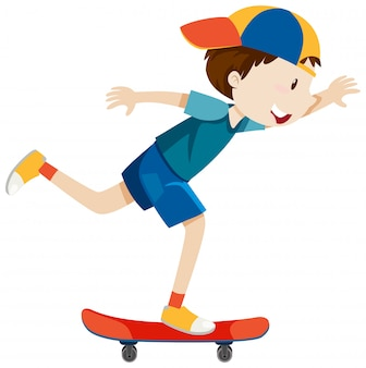 分離されたスケートボードの漫画のスタイルを再生する帽子をかぶっている男の子