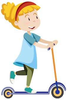 分離された幸せな気分漫画のスタイルでスクーターに乗っている女の子