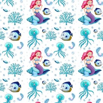 シームレスな海の動物と白い背景の上の人魚の漫画のキャラクター
