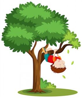 白い背景で隔離の木の漫画のスタイルを登る少年