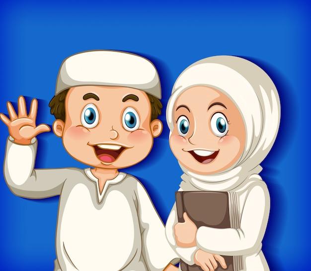 色のグラデーションの背景に幸せなイスラム教徒のカップル
