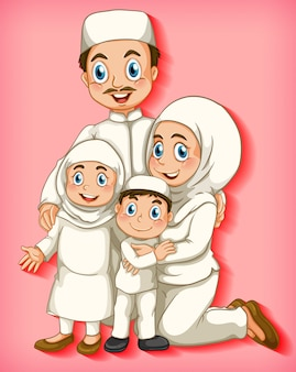 漫画のキャラクターの色のグラデーションの背景にイスラム教徒の家族