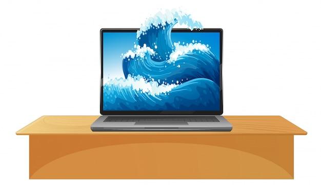 画面上の波のノートパソコン