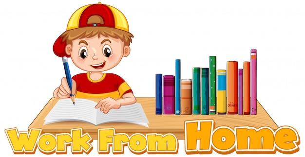 宿題をしている男の子と一緒に家のテーマから作業する