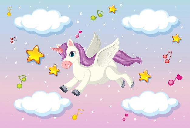 パステルの空を飛んでいる紫のたてがみを持つかわいいペガサス