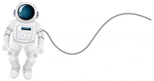白い背景の上の宇宙飛行士の漫画