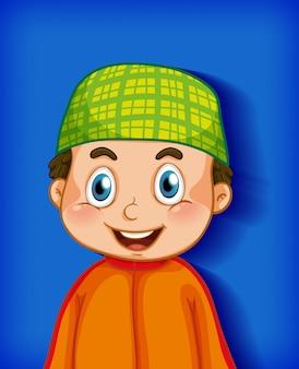 色のグラデーションの背景に男性の漫画のキャラクター