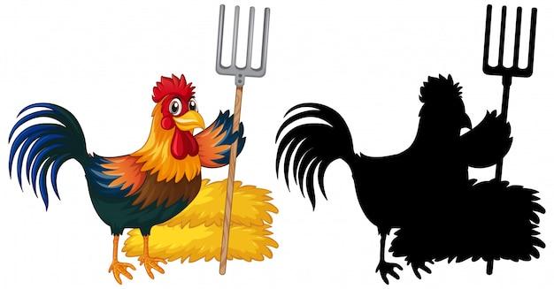 農家の鶏とそのシルエット