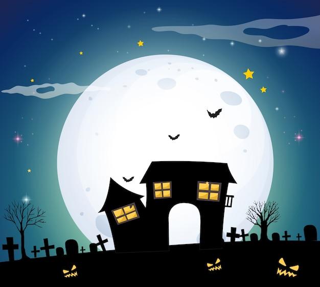 フルムーンの夜のフィールドで幽霊の家