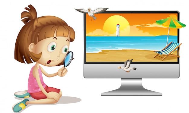 コンピューターのデスクトップ上の夏のシーン
