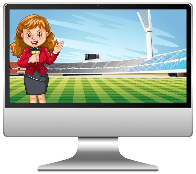 コンピューター画面上のサッカーの試合のニュース