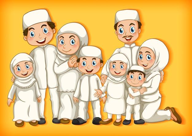 漫画のキャラクターの色のグラデーションの背景に家族